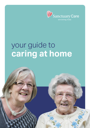 A smiling Sanctuary Care resident on the front cover of our guide to caring at home
